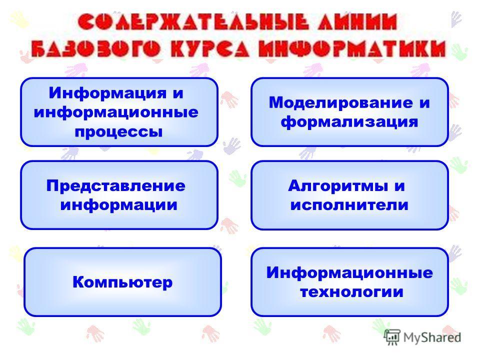 Информация и информационные процессы Представление информации Компьютер Моделирование и формализация Алгоритмы и исполнители Информационные технологии