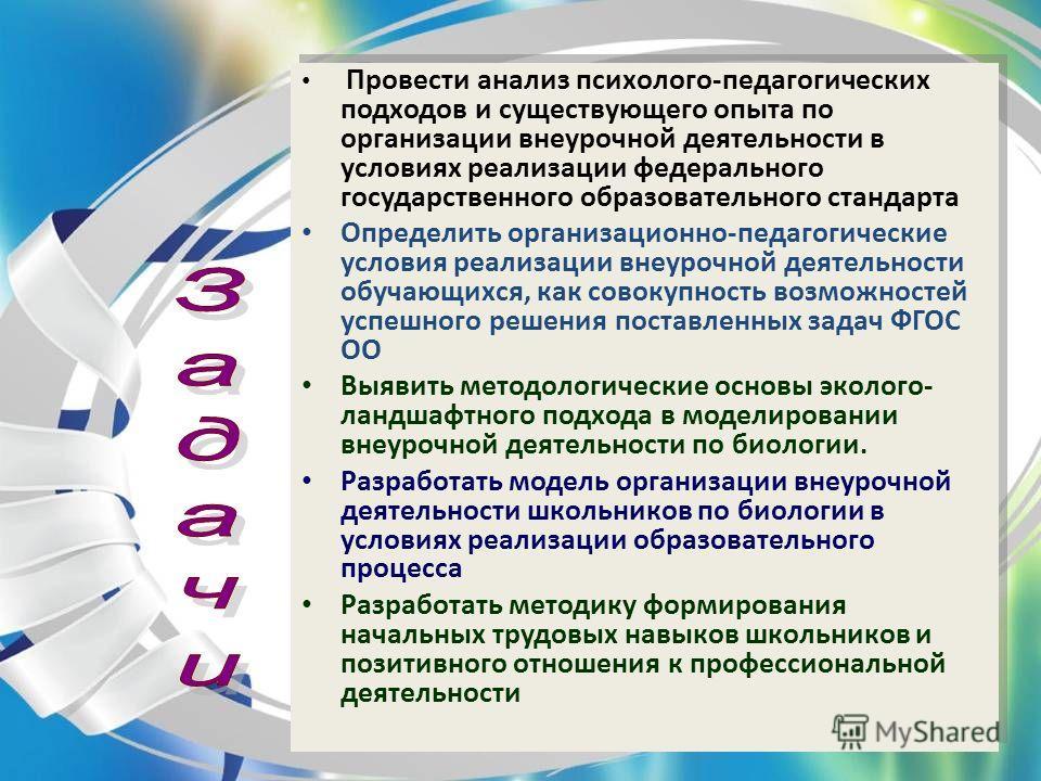 Провести анализ психолого-педагогических подходов и существующего опыта по организации внеурочной деятельности в условиях реализации федерального государственного образовательного стандарта Определить организационно-педагогические условия реализации
