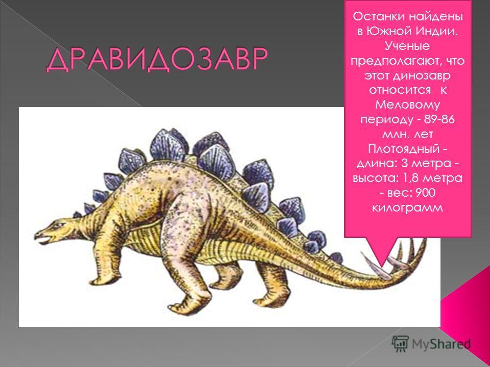 Останки найдены в Южной Индии. Ученые предполагают, что этот динозавр относится к Меловому периоду - 89-86 млн. лет Плотоядный - длина: 3 метра - высота: 1,8 метра - вес: 900 килограмм
