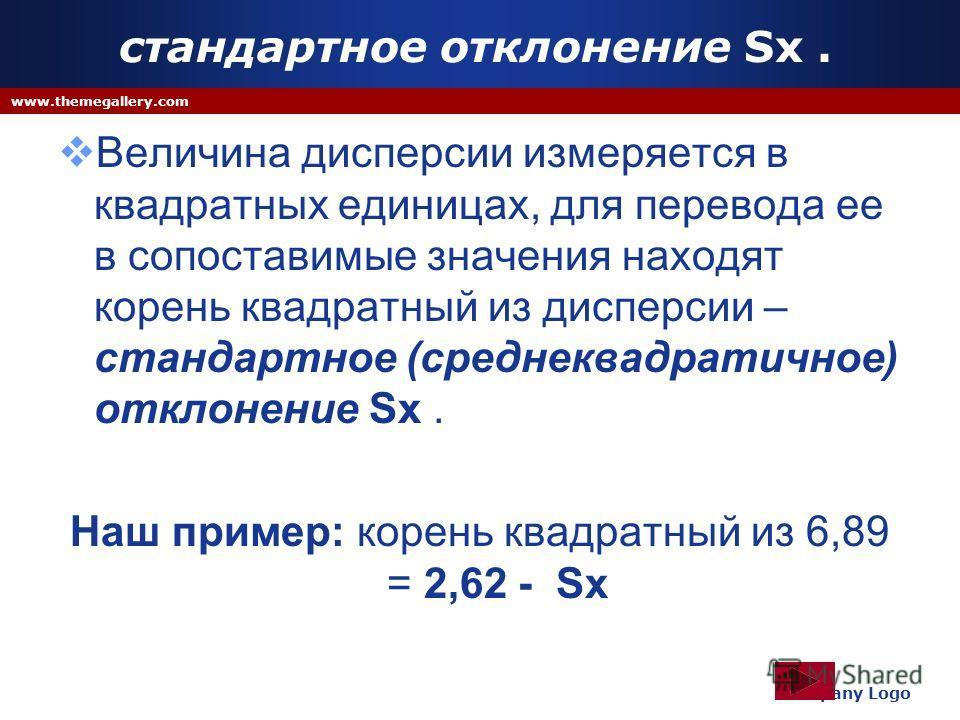 стандартное отклонение Sx. Величина дисперсии измеряется в квадратных единицах, для перевода ее в сопоставимые значения находят корень квадратный из дисперсии – стандартное (среднеквадратичное) отклонение Sx. Наш пример: корень квадратный из 6,89 = 2