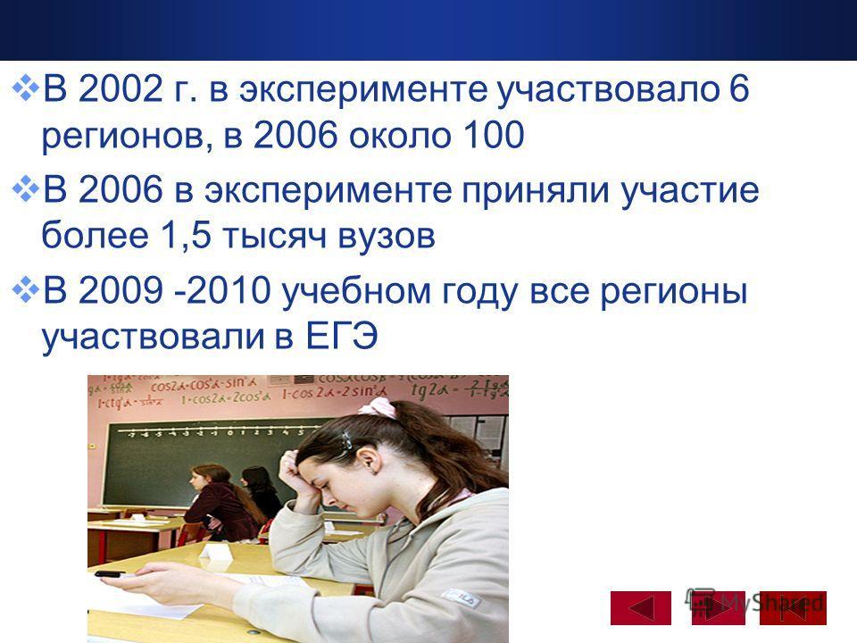 Company Logo www.themegallery.com В 2002 г. в эксперименте участвовало 6 регионов, в 2006 около 100 В 2006 в эксперименте приняли участие более 1,5 тысяч вузов В 2009 -2010 учебном году все регионы участвовали в ЕГЭ