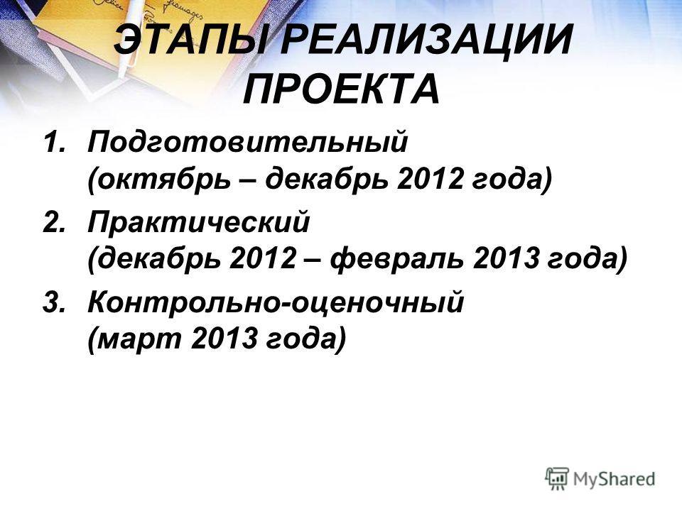 ЭТАПЫ РЕАЛИЗАЦИИ ПРОЕКТА 1.Подготовительный (октябрь – декабрь 2012 года) 2.Практический (декабрь 2012 – февраль 2013 года) 3.Контрольно-оценочный (март 2013 года)