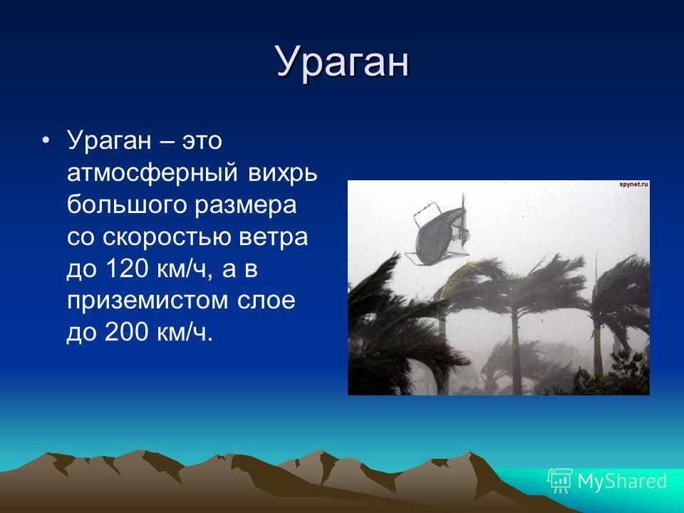 Ураган Ураган – это атмосферный вихрь большого размера со скоростью ветра до 120 км/ч, а в приземистом слое до 200 км/ч.