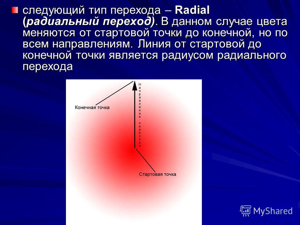 следующий тип перехода – Radial (радиальный переход). В данном случае цвета меняются от стартовой точки до конечной, но по всем направлениям. Линия от стартовой до конечной точки является радиусом радиального перехода