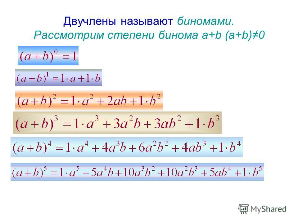 Двучлены называют биномами. Рассмотрим степени бинома a+b (a+b)0