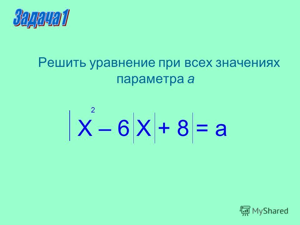 Решить уравнение при всех значениях параметра а Х – 6 Х + 8 = а 2