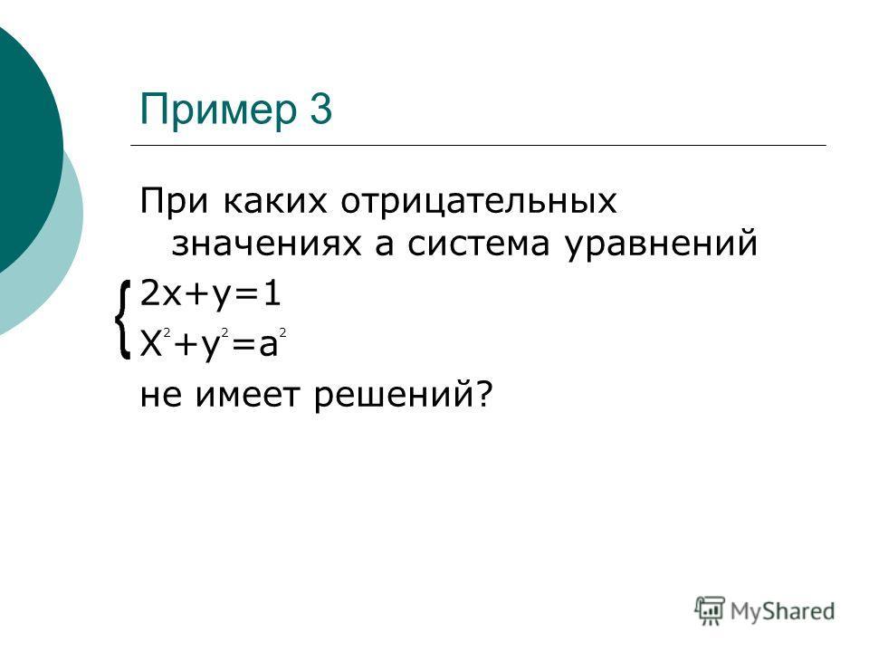 Пример 3 При каких отрицательных значениях a система уравнений 2x+y=1 X 2 +y 2 =a 2 не имеет решений?