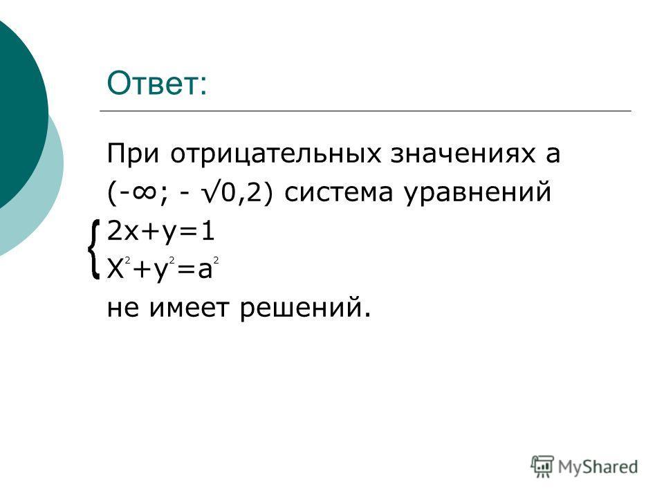 Ответ: При отрицательных значениях a (-; - 0,2) система уравнений 2x+y=1 X 2 +y 2 =a 2 не имеет решений.