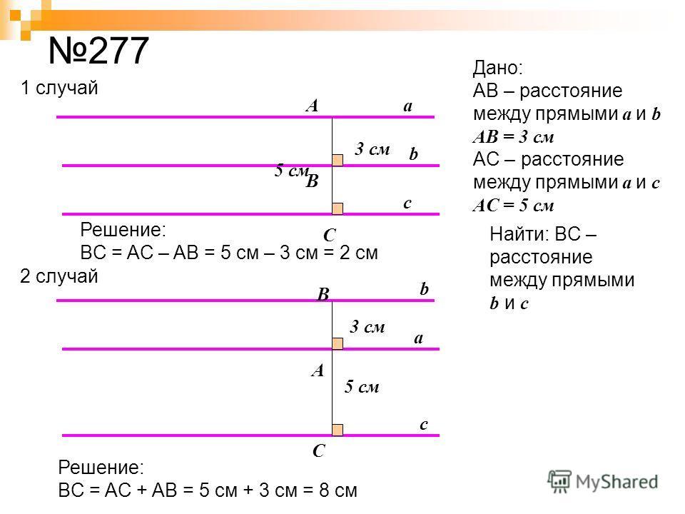 277 a b c A B C 3 см a b c A B C 5 см 1 случай 2 случай Дано: AB – расстояние между прямыми a и b AB = 3 см AC – расстояние между прямыми a и c AС = 5 см Найти: BC – расстояние между прямыми b и с 5 см Решение: BC = AC – AB = 5 см – 3 см = 2 см Решен