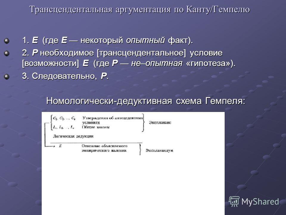 Трансцендентальная аргументация по Канту/Гемпелю 1. E (где E некоторый опытный факт). 2. P необходимое [трансцендентальное] условие [возможности] E (где P не–опытная «гипотеза»). 3. Следовательно, P. Номологически-дедуктивная схема Гемпеля: Номологич