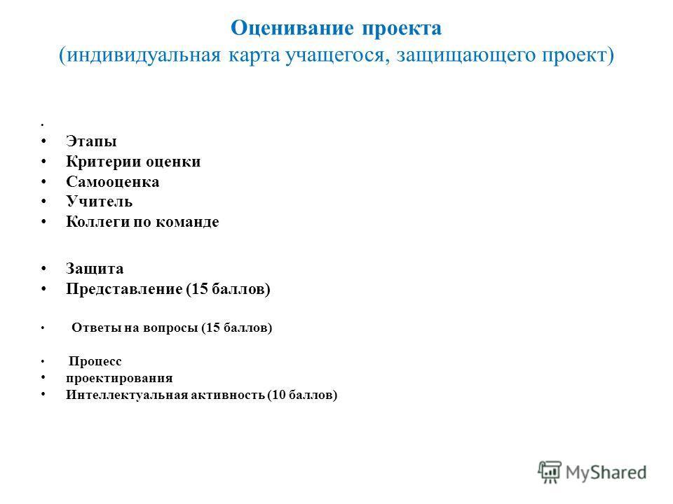 Оценивание проекта (индивидуальная карта учащегося, защищающего проект) Этапы Критерии оценки Самооценка Учитель Коллеги по команде Защита Представление (15 баллов) Ответы на вопросы (15 баллов) Процесс проектирования Интеллектуальная активность (10