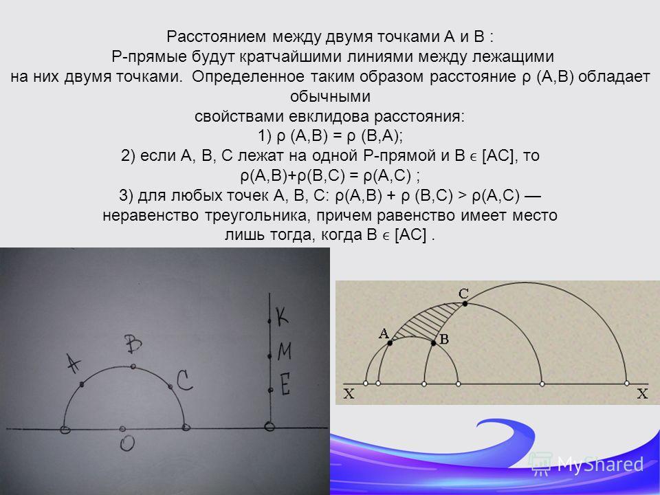 Расстоянием между двумя точками A и B : P-прямые будут кратчайшими линиями между лежащими на них двумя точками. Определенное таким образом расстояние ρ (A,B) обладает обычными свойствами евклидова расстояния: 1) ρ (A,B) = ρ (B,A); 2) если A, B, C леж