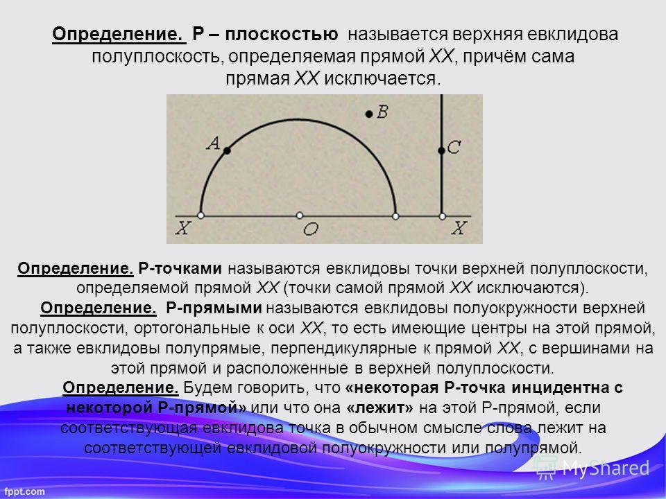 Определение. Р – плоскостью называется верхняя евклидова полуплоскость, определяемая прямой XX, причём сама прямая XX исключается. Определение. P-точками называются евклидовы точки верхней полуплоскости, определяемой прямой XX (точки самой прямой XX