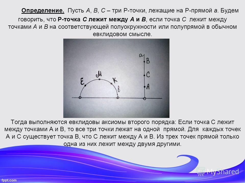 Определение. Пусть A, B, C – три P-точки, лежащие на P-прямой a. Будем говорить, что P-точка C лежит между A и B, если точка C лежит между точками A и B на соответствующей полуокружности или полупрямой в обычном евклидовом смысле. Тогда выполняются е