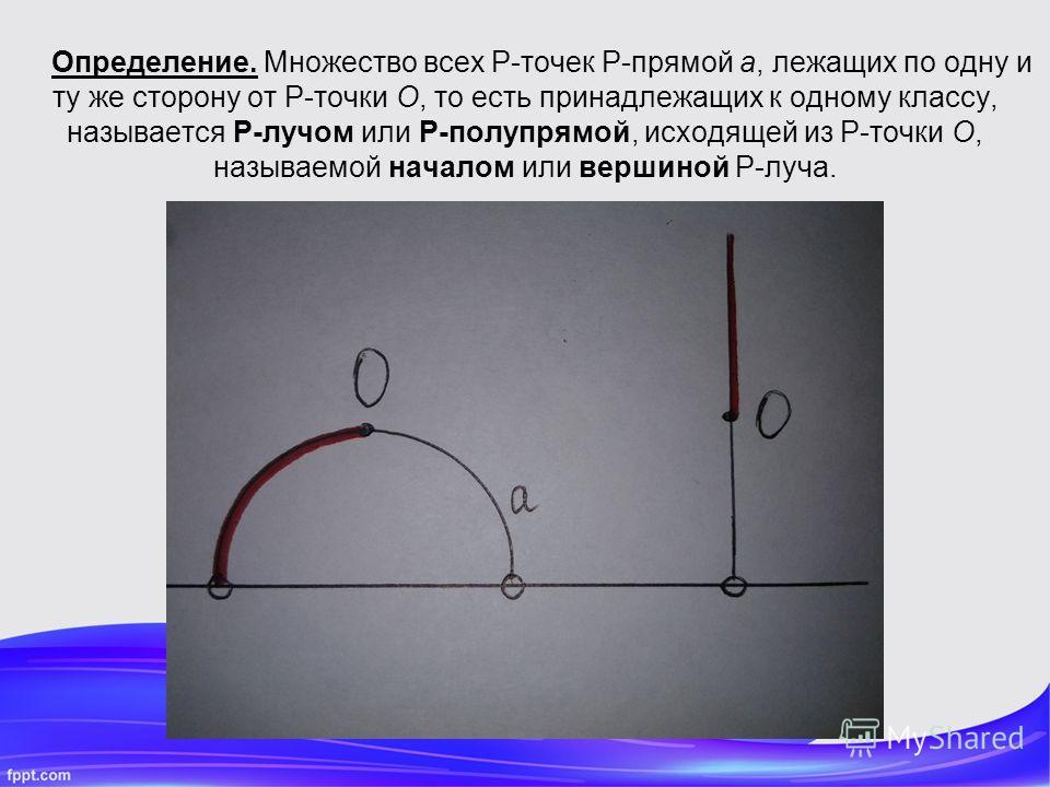 Определение. Множество всех P-точек P-прямой a, лежащих по одну и ту же сторону от P-точки O, то есть принадлежащих к одному классу, называется P-лучом или P-полупрямой, исходящей из P-точки O, называемой началом или вершиной P-луча.