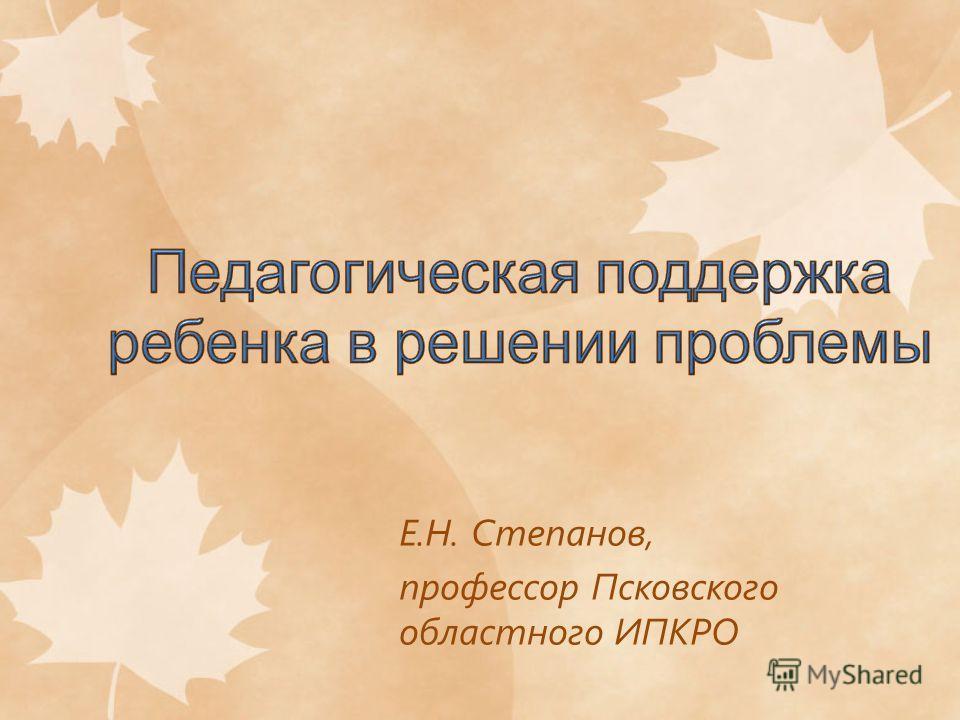 Е.Н. Степанов, профессор Псковского областного ИПКРО
