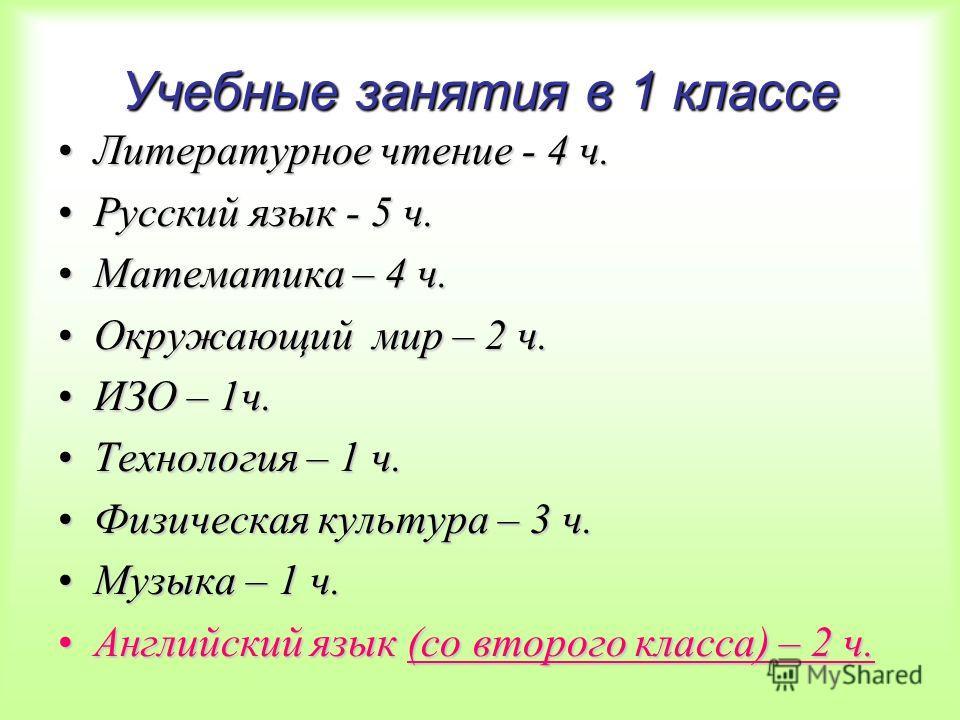 Учебные занятия в 1 классе Литературное чтение - 4 ч.Литературное чтение - 4 ч. Русский язык - 5 ч.Русский язык - 5 ч. Математика – 4 ч.Математика – 4 ч. Окружающий мир – 2 ч.Окружающий мир – 2 ч. ИЗО – 1ч.ИЗО – 1ч. Технология – 1 ч.Технология – 1 ч.