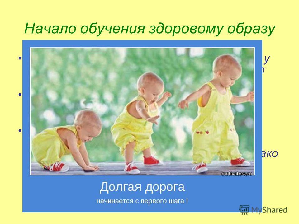 Начало обучения здоровому образу Начало обучения здоровому образу жизни у детей начинается с того, что они берут пример с собственных родителей. Физиологические особенности организма ребёнка заложены уже на генетическом уровне. Но как сделать первые