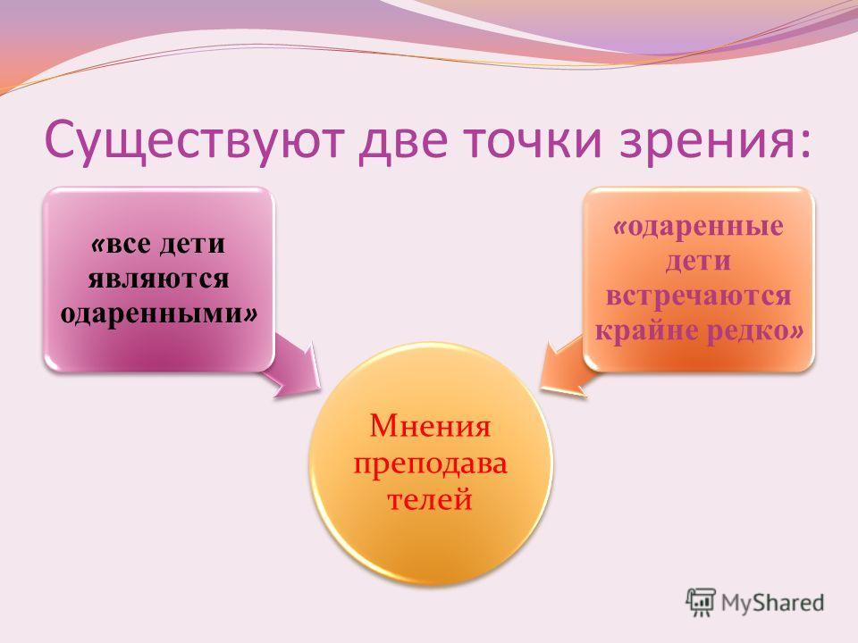 Существуют две точки зрения: Мнения преподава телей « все дети являются одаренными » « одаренные дети встречаются крайне редко »
