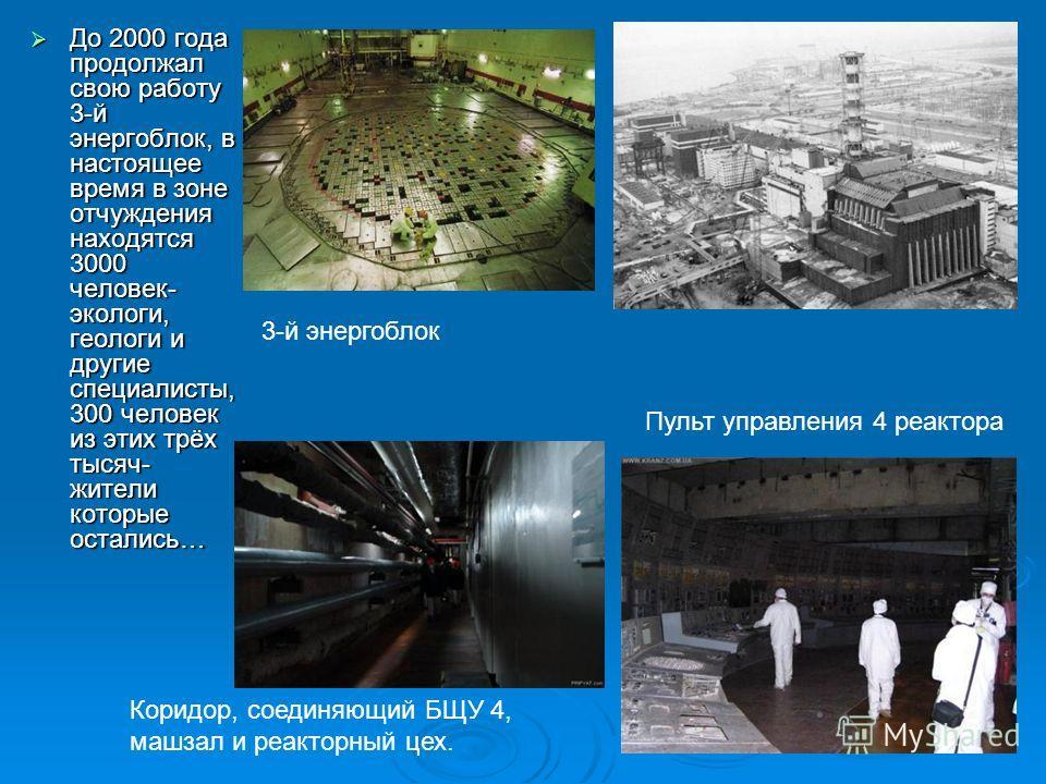 До 2000 года продолжал свою работу 3-й энергоблок, в настоящее время в зоне отчуждения находятся 3000 человек- экологи, геологи и другие специалисты, 300 человек из этих трёх тысяч- жители которые остались… До 2000 года продолжал свою работу 3-й энер