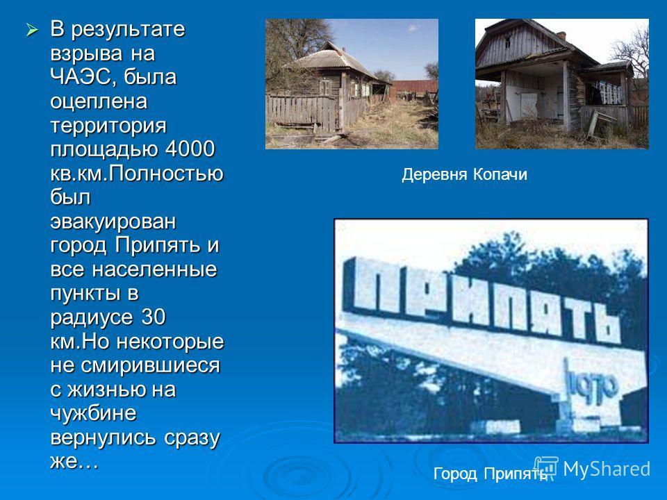 В результате взрыва на ЧАЭС, была оцеплена территория площадью 4000 кв.км.Полностью был эвакуирован город Припять и все населенные пункты в радиусе 30 км.Но некоторые не смирившиеся с жизнью на чужбине вернулись сразу же… В результате взрыва на ЧАЭС,