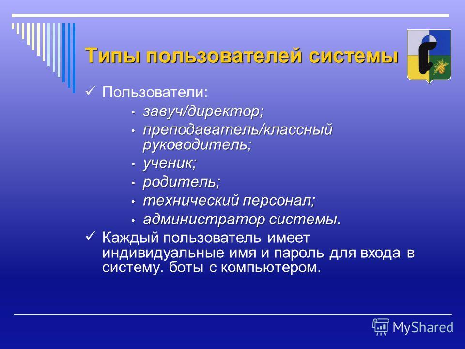 Типы пользователей системы Пользователи: завуч/директор; завуч/директор; преподаватель/классный руководитель; преподаватель/классный руководитель; ученик; ученик; родитель; родитель; технический персонал; технический персонал; администратор системы.