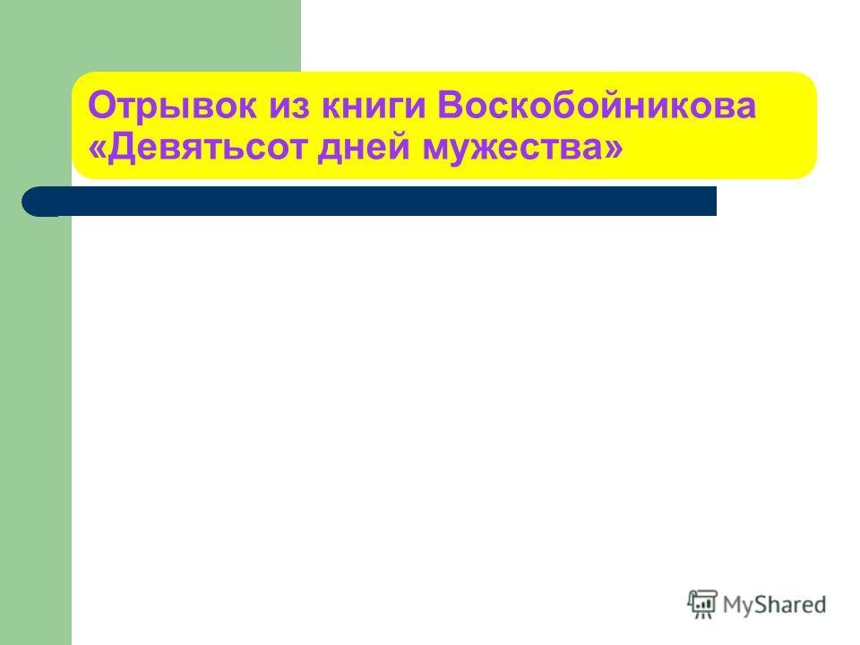 Отрывок из книги Воскобойникова «Девятьсот дней мужества»