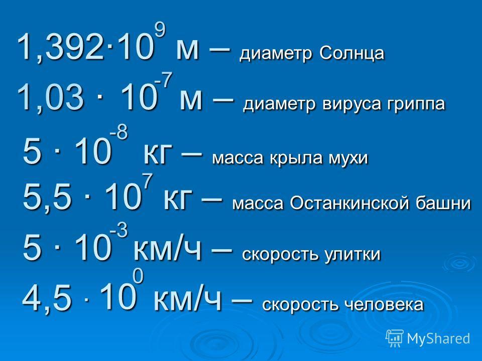 1,39210 м – диаметр Солнца 9 1,03 1 1 1 10 м – диаметр вируса гриппа -7 5 10 кг – масса крыла мухи -8 5,5 10 кг – масса Останкинской башни 7 5 10 км/ч – скорость улитки -3 4,5 км/ч – скорость человека 0 10