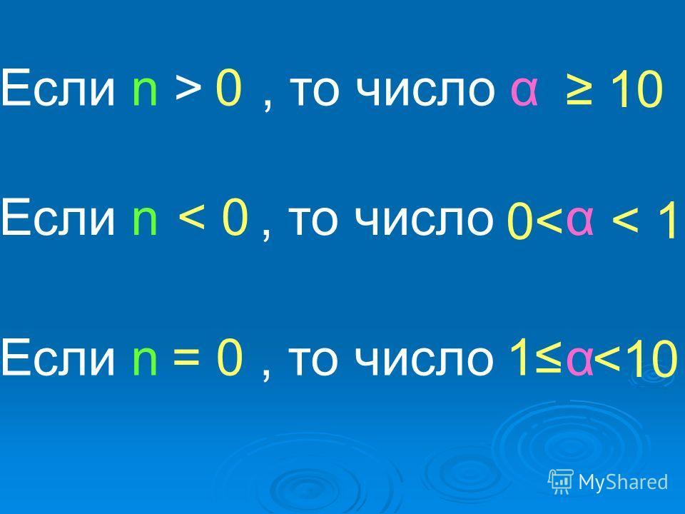 Если n >, то число α Если n, то число α Если n, то число α 0 < 0 = 0 10 < 1 0< 1