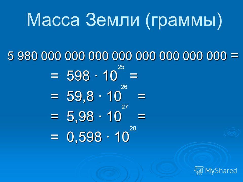 5 980 000 000 000 000 000 000 000 000 = = 598 10 = = 59,8 10 = = 5,98 10 = = 0,598 10 25 26 27 28 Масса Земли (граммы)