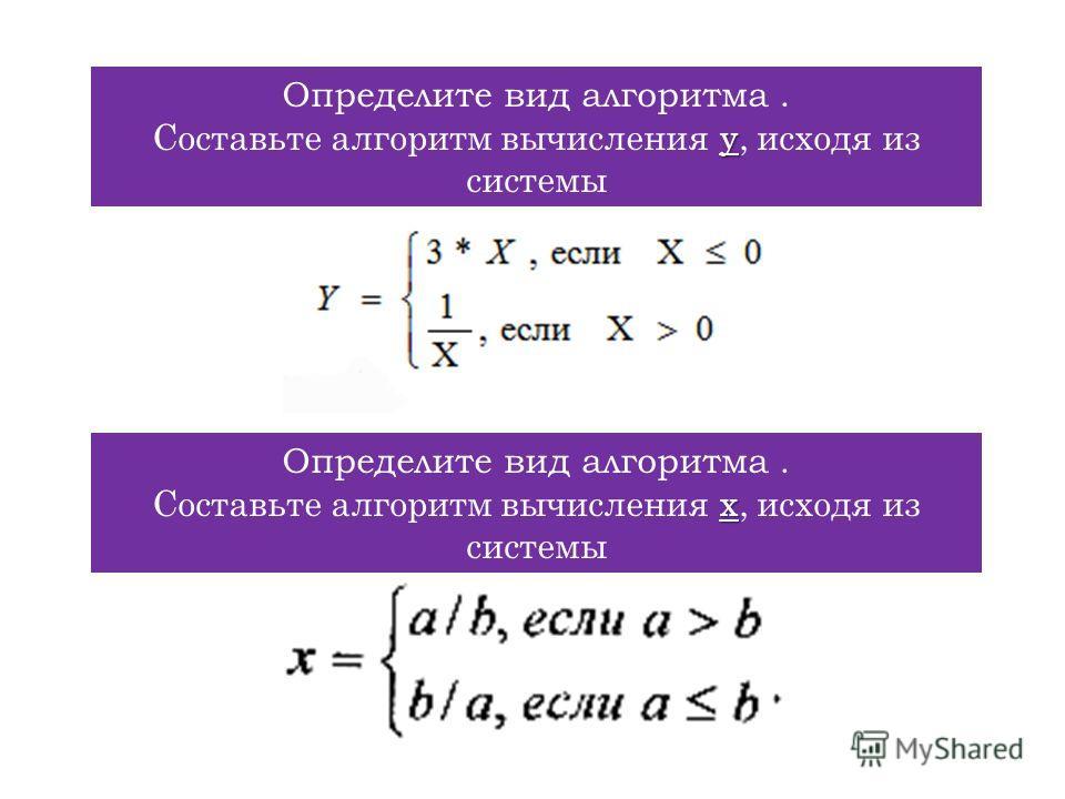 Определите вид алгоритма. y Составьте алгоритм вычисления y, исходя из системы Определите вид алгоритма. x Составьте алгоритм вычисления x, исходя из системы