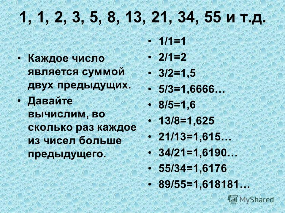 1, 1, 2, 3, 5, 8, 13, 21, 34, 55 и т.д. Каждое число является суммой двух предыдущих. Давайте вычислим, во сколько раз каждое из чисел больше предыдущего. 1/1=1 2/1=2 3/2=1,5 5/3=1,6666… 8/5=1,6 13/8=1,625 21/13=1,615… 34/21=1,6190… 55/34=1,6176 89/5