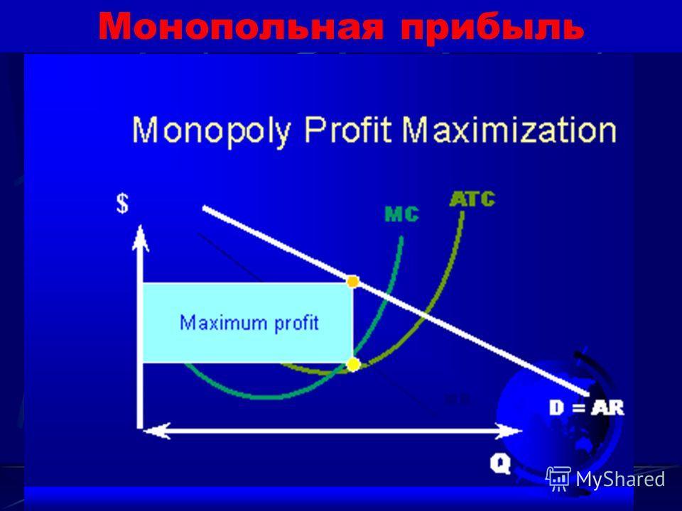 Монопольная прибыль Поэтому монополист, переоценивший размеры спроса и недооценивший его эластичность, может проиграть на снижении объема продаж больше, чем выиграет на повышении цены.