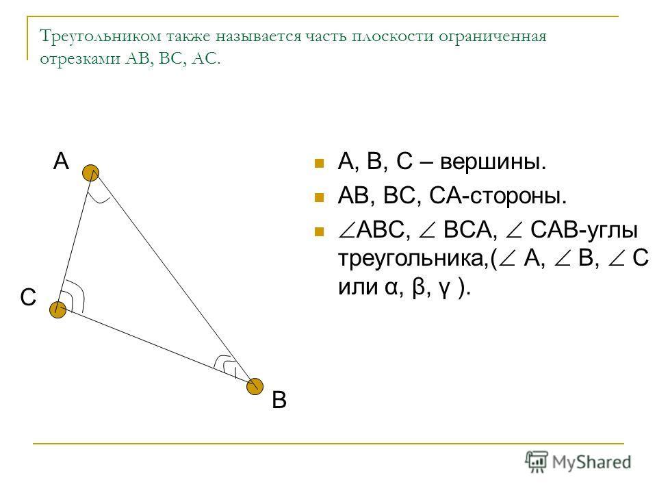 Треугольник и его элементы.элементы Геометрическая фигура, которая состоит из трех точек не лежащих на одной прямой и отрезков их соединяющих называется треугольником (обозначается: АВС). А В С