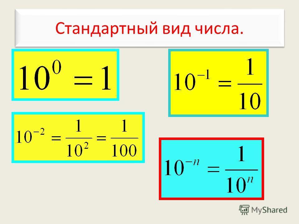 Стандартный вид числа. Стандартный вид числа.