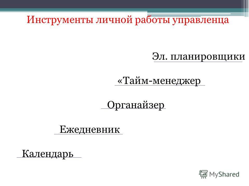 Инструменты личной работы управленца Эл. планировщики «Тайм-менеджер Органайзер Ежедневник Календарь