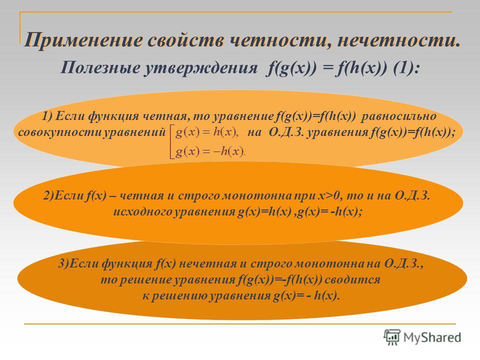 3)Если функция f(x) нечетная и строго монотонна на О.Д.З., то решение уравнения f(g(x))=-f(h(x)) сводится к решению уравнения g(x)= - h(x). 2)Если f(x) – четная и строго монотонна при x>0, то и на О.Д.З. исходного уравнения g(x)=h(x),g(x)= -h(x); При
