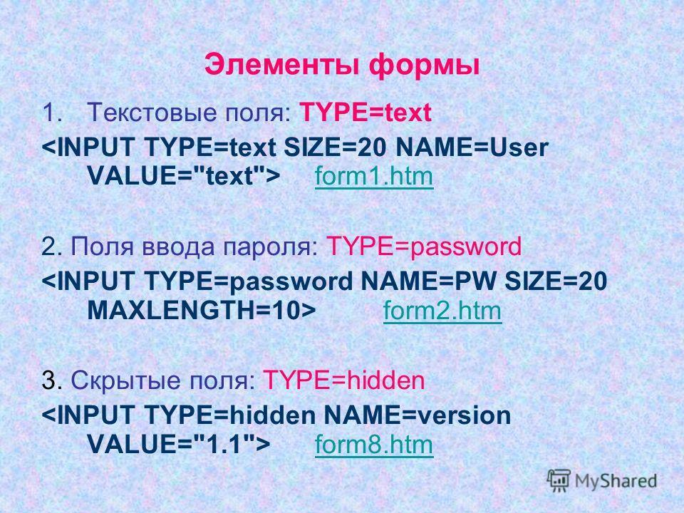 Элементы формы 1.Текстовые поля: TYPE=text form1.htm 2. Поля ввода пароля: TYPE=password form2.htm 3. Скрытые поля: TYPE=hidden form8.htm