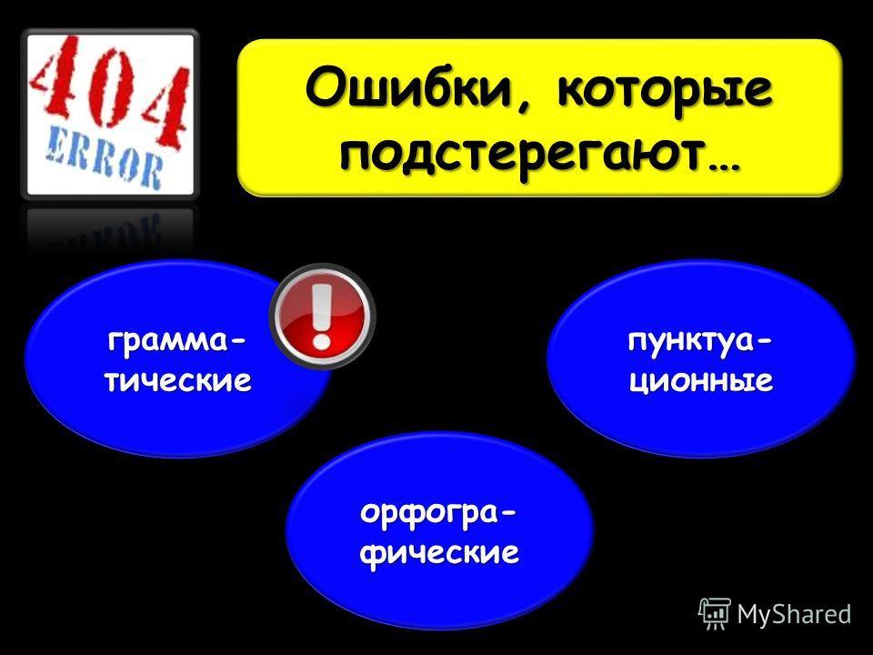 Ошибки, которые подстерегают… грамма-тические орфогра-фические пунктуа-ционные