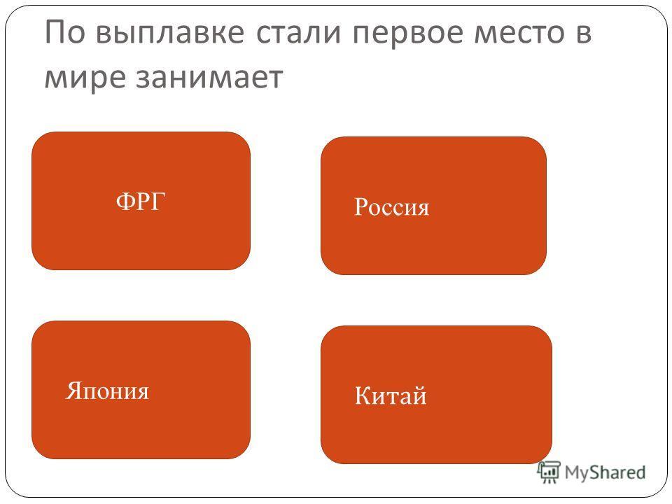По выплавке стали первое место в мире занимает ФРГ Япония Китай Россия