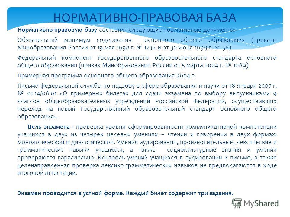 Нормативно-правовую базу составили следующие нормативные документы: Обязательный минимум содержания основного общего образования (приказы Минобразования России от 19 мая 1998 г. 1236 и от 30 июня 1999 г. 56) Федеральный компонент государственного обр