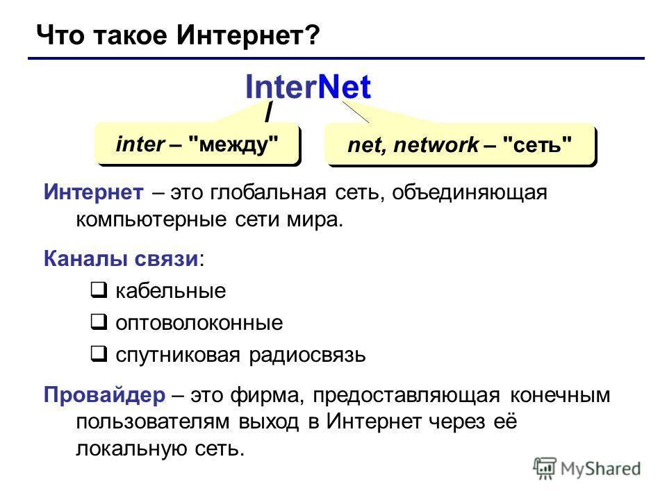 Что такое Интернет? InterNet inter –
