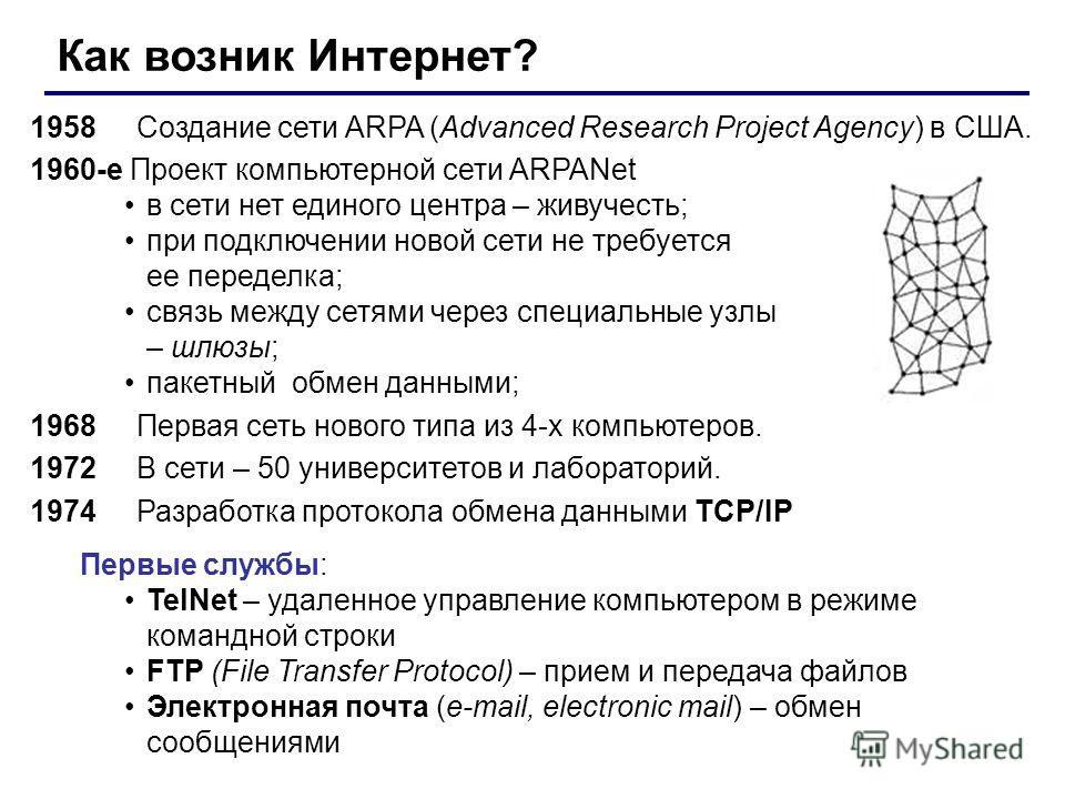 Как возник Интернет? 1958Создание сети ARPA (Advanced Research Project Agency) в США. 1960-е Проект компьютерной сети ARPANet в сети нет единого центра – живучесть; при подключении новой сети не требуется ее переделка; связь между сетями через специа