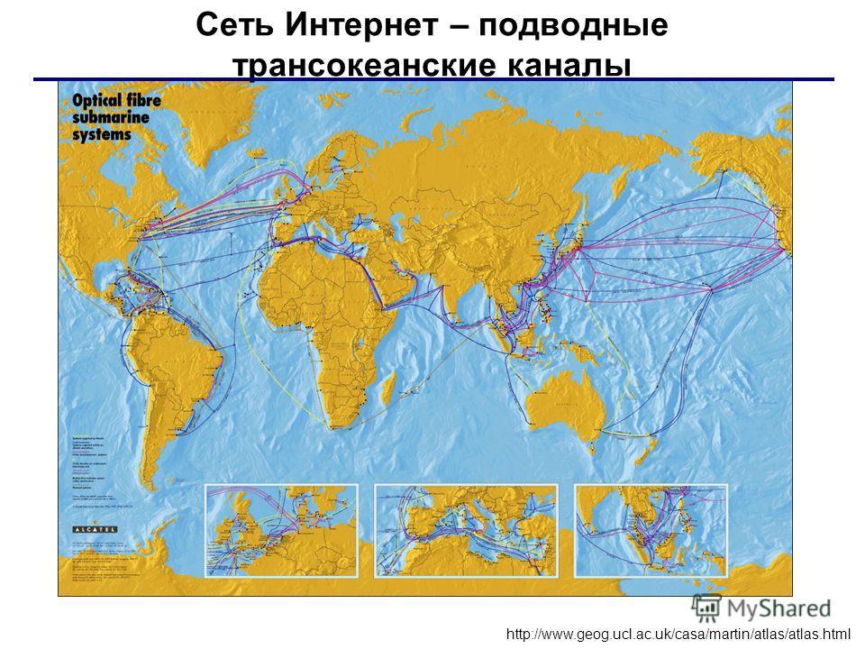 Сеть Интернет – подводные трансокеанские каналы http://www.geog.ucl.ac.uk/casa/martin/atlas/atlas.html