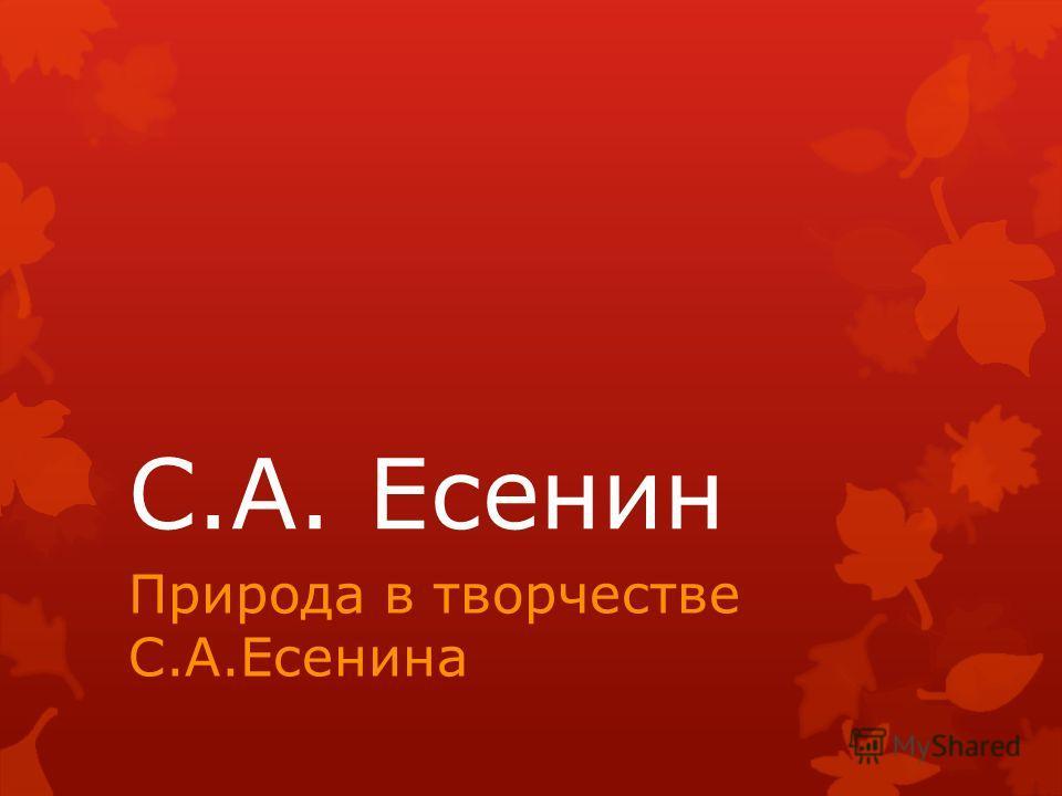 С.А. Есенин Природа в творчестве С.А.Есенина