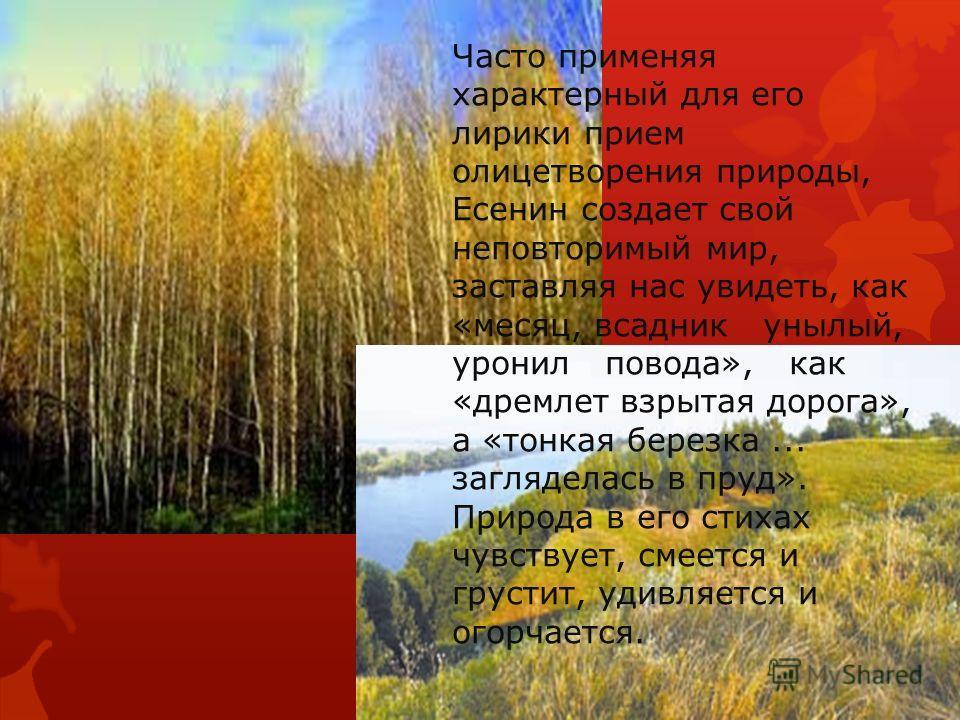 Часто применяя характерный для его лирики прием олицетворения природы, Есенин создает свой неповторимый мир, заставляя нас увидеть, как «месяц, всадник унылый, уронил повода», как «дремлет взрытая дорога», а «тонкая березка... загляделась в пруд». Пр
