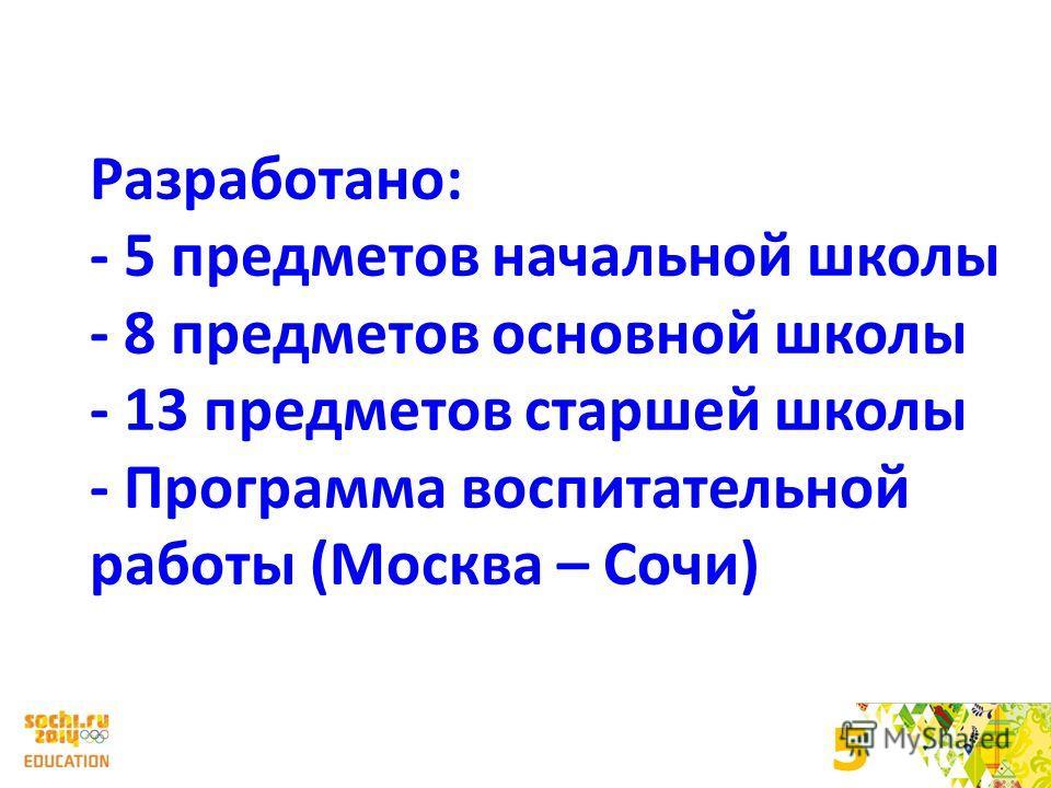 5 Разработано: - 5 предметов начальной школы - 8 предметов основной школы - 13 предметов старшей школы - Программа воспитательной работы (Москва – Сочи)