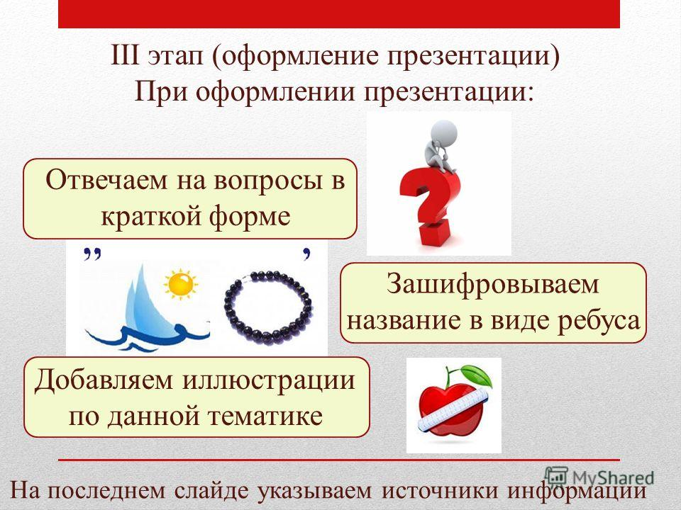 III этап (оформление презентации) При оформлении презентации: Отвечаем на вопросы в краткой форме Зашифровываем название в виде ребуса Добавляем иллюстрации по данной тематике На последнем слайде указываем источники информации