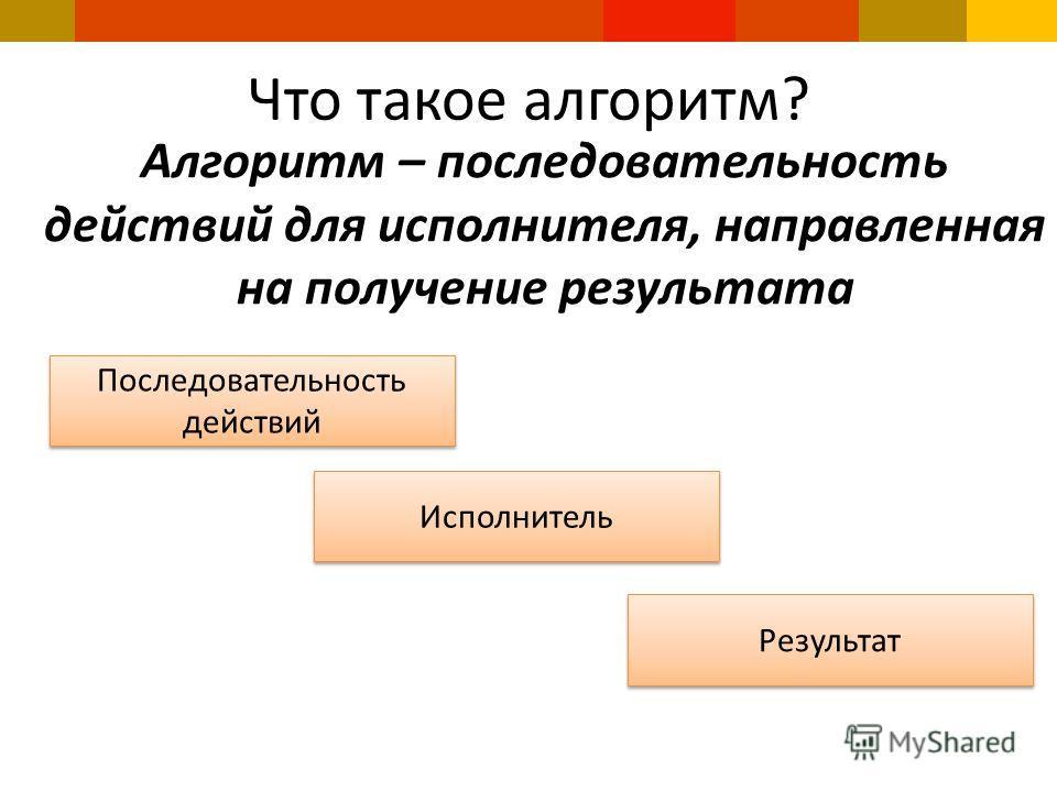Что такое алгоритм? Алгоритм – последовательность действий для исполнителя, направленная на получение результата Последовательность действий Исполнитель Результат