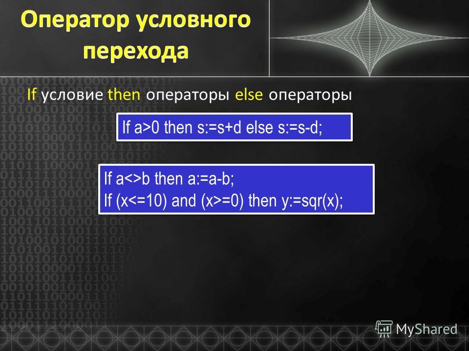 If условие then операторы else операторы If a>0 then s:=s+d else s:=s-d; If ab then a:=a-b; If (x =0) then y:=sqr(x); If ab then a:=a-b; If (x =0) then y:=sqr(x);